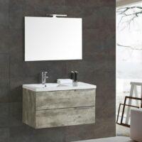 Függesztett fürdőszobabútor 90cm tükörrel világítással öntött márvány mosdóval! AKCIÓ!