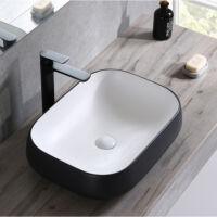 mosdó fekete-fehér kerámia mosdókagyló 53x39x14cm