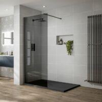 walk in zuhanyfal 90-es 8mm-es nano vízlepergető füst üveggel fekete keret kitámasztó karral