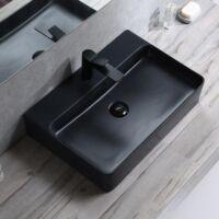 Fekete mosdó kerámia mosdókagyló 52x42x15cm MATT fekete