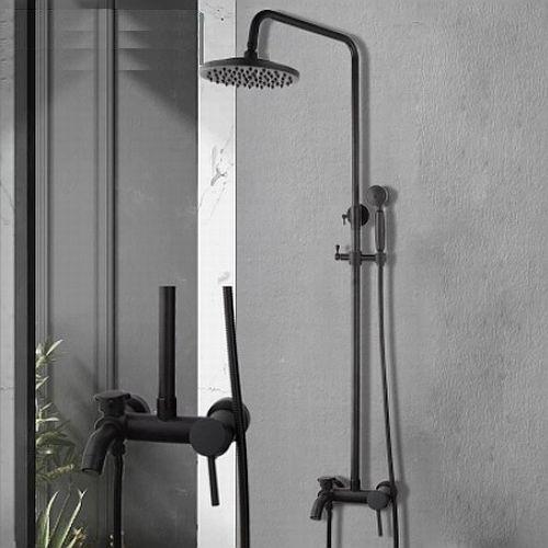 Dark fekete egykaros kádöltős zuhanyszett felső esőztetővel, kézitussal. Bamboo design.