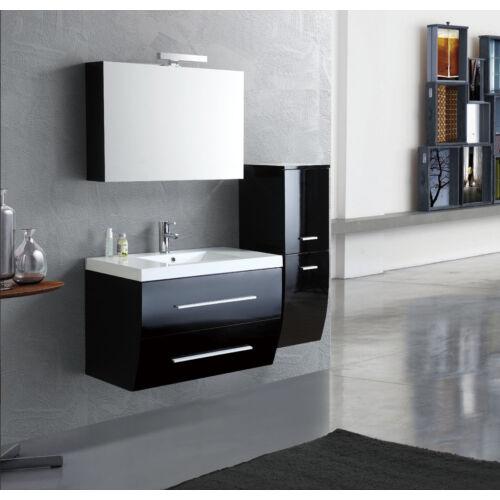 Szofi Függesztett fényes fekete fürdőszoba bútor kompletten kis ...