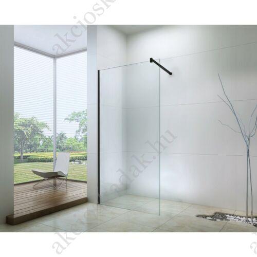 walk-in zuhanyfal 120-es 8mm-es nano vízlepergető átlátszó üveggel fekete kerettel kitámasztó karral