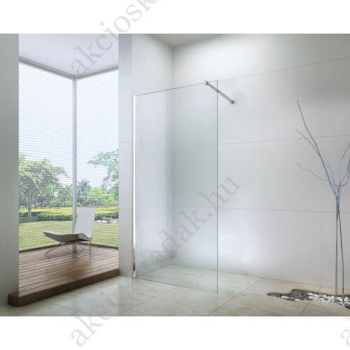 walk-in zuhanyfal 120x200cm 8mm-es nano vízlepergető átlátszó üveggel kitámasztó karral