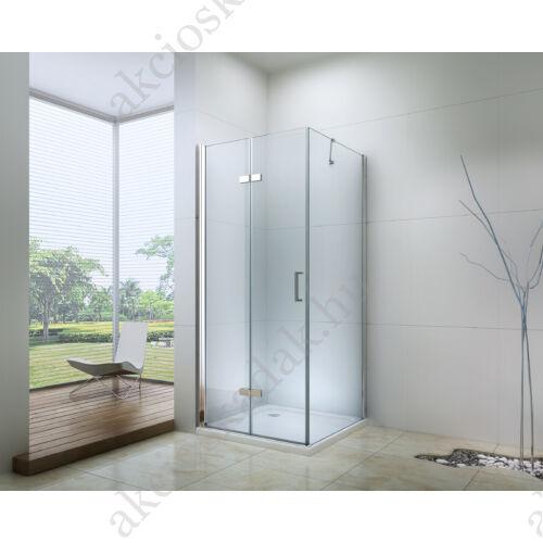 Royal space 80x80-es Fix üveg+összecsukható ajtós zuhanykabin 6mm-es nano vízlepergető üveggel