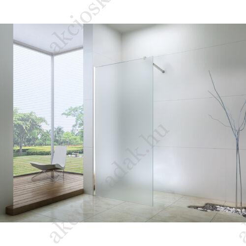 walk-in zuhanyfal 120x200cm 8mm-es nano vízlepergető matt üveggel kitámasztó karral