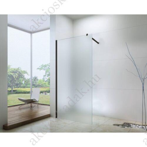 walk-in zuhanyfal 100-as 8mm-es nano vízlepergető matt  üveggel fekete kerettel kitámasztó karral