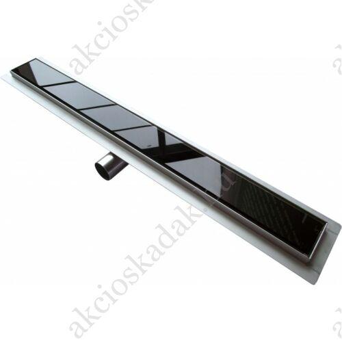 Zuhanyfolyóka fekete üveggel  kompletten 60x7cm-es méreteben 67mm-es magas AKÁR INGYEN POSTÁVAl!