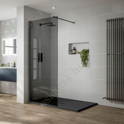 walk in zuhanyfal 140-as 8mm-es nano vízlepergető füst üveggel fekete keret kitámasztó karral