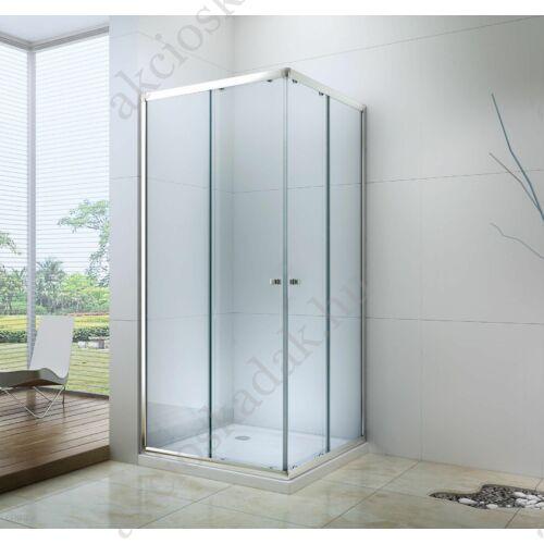 Royal trend 80x80-es szögletes zuhanykabin 6mm-es nano átlátszó vízlepergető üveggel alacsony zuhanytálvával