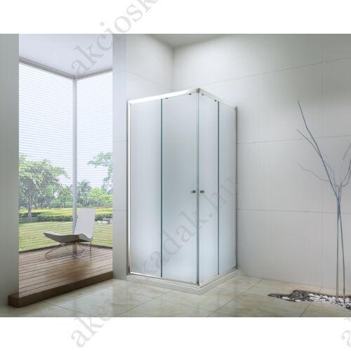 Royal trend 80x80-es szögletes zuhanykabin 6mm-es nano vízlepergető üveggel MATT üveggel