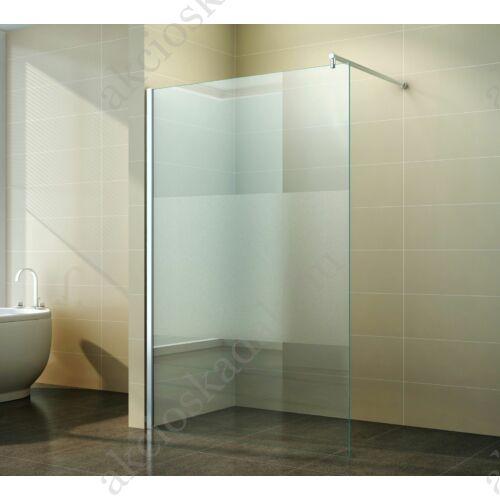 walk in zuhanyfal 110x200cm 8mm-es nano vízlepergető középen matt üveggel kitámasztó karral